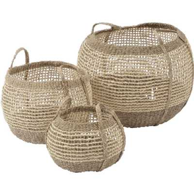 Natural Seagrass Woven Storage Baskets Set of 3 with Plaited Handles