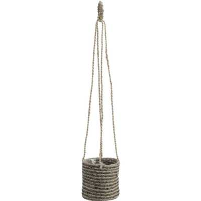 Natural Jute Black Stripe Hanging Basket Planter