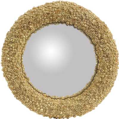 Round Convex Gold Coral Polyresin Mirror Small
