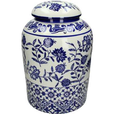 Large Jasmine Blue and White Floral Earthenware Round Lidded Jar
