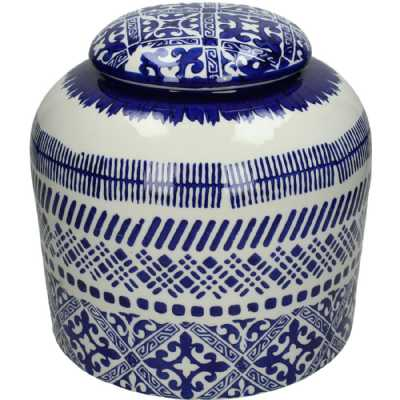 Traditional Small Blue and White Patterned Fine Earthenware Jar Dutch Style