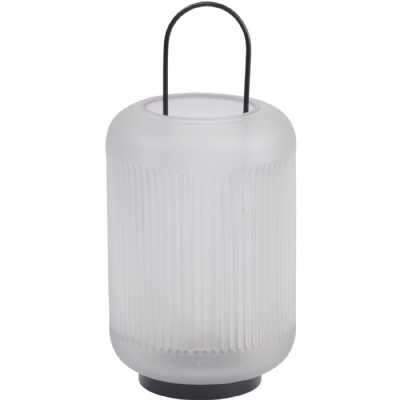 Frosted Grey Glass Lantern with Black Handle Small