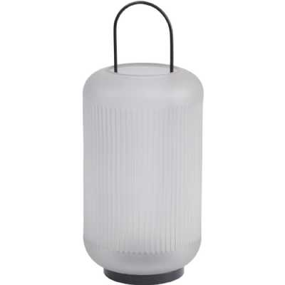 Frosted Grey Glass Lantern with Black Handle Large