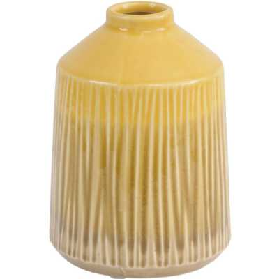 Yellow Stoneware Bottle Vase with Blended Glaze Small