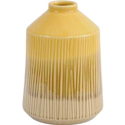 Yellow Stoneware Bottle Vase with Blended Glaze Large