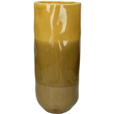 Ochre Stoneware Vase With Striped Glaze Large