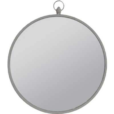 Round Mirror with Grey Metal Frame and Top Handle Large