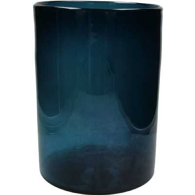 Med Blue Cylindrical Glass Vase