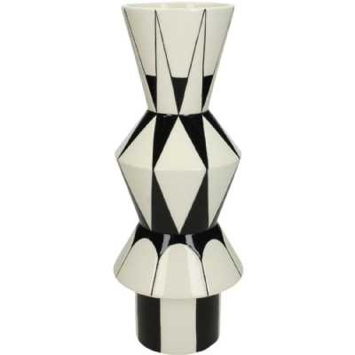 Arizona Black and White Graphic Ceramic Vase Large