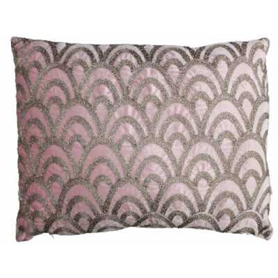 Deco Scalloped Cushion Cover in Pink Velvet 40x60cm