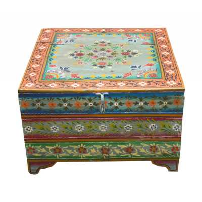 Carnival Vintage Hand Painted Floral Multi Coloured Storage Trinket Box Trunk