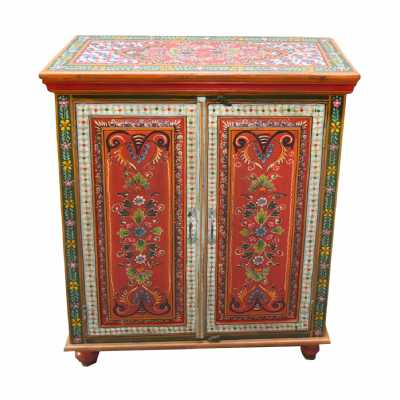 Cool Carnival Hand Painted Vintage Style Folk Pattern 2 Door Cabinet
