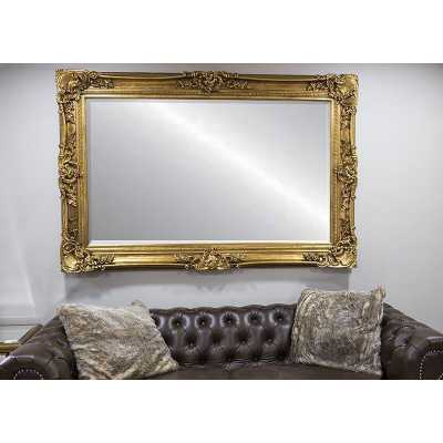 Ornamental Paige Rectangular Wall Mirror Gold Frame