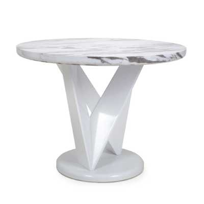 Saturn Round Marble Effect Top High Gloss Grey White Dining Table