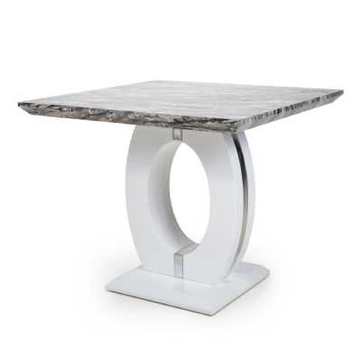 Neptune Square Marble Effect Top High Gloss Grey White Dining Table