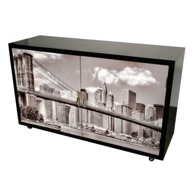 High Gloss White City Scape 2 Door Occasional Sideboard Cabinet