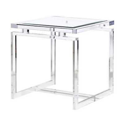 Contemporary Acrylic Side Table with Glass Top