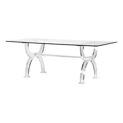 Contemporary Glass Top Acrylic Frame Dining Table