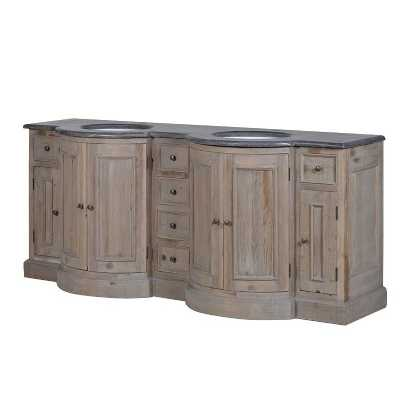 Weathered Wood Bow Fronted Double Sink Bowl Bathroom Vanity Cabinet