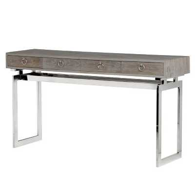 Modern Wooden 4 Drawer Console Table With Stainless Steel Base