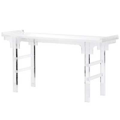 Contemporary Chinoiserie Clear Acrylic Console Table