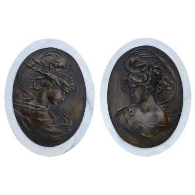 Marbaline And Bronze Classical Plaques Ladies Pair