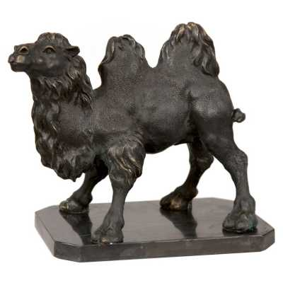 Ornamental Bronze Arabian Camel Statue on Marble Stand