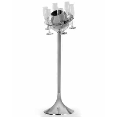 Polished Aluminium Floor Standing Saturn Ice Bucket Champagne Cooler With Glasses