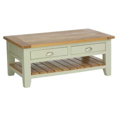 Vancouver Expressions French Grey Rectangular Coffee Table with 2 Drawers And 1 Shelf