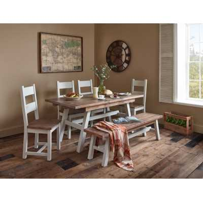 Rustic Limed Pine and Grey Extending Dining Table with 2 Benches Dining Set