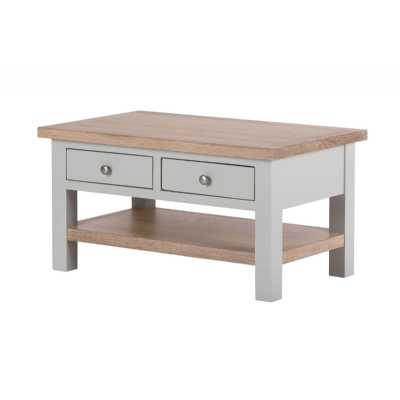 Vancouver Chalked Oak and Light Grey Painted 2 Drawer Coffee Table