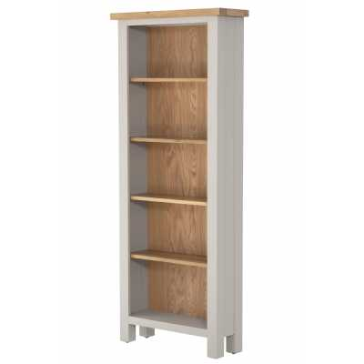 Vancouver Compact Chalked Oak and Light Grey Painted 5 Shelve Bookcase