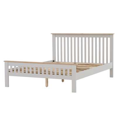 Vancouver Chalked Oak Top Light Grey Painted 4ft 6 Large Double Bed