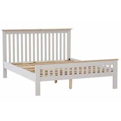 Vancouver Compact Two Tone And Grey Painted 5ft Kingsize Bed With Slatted Headboard 164 x 105cm