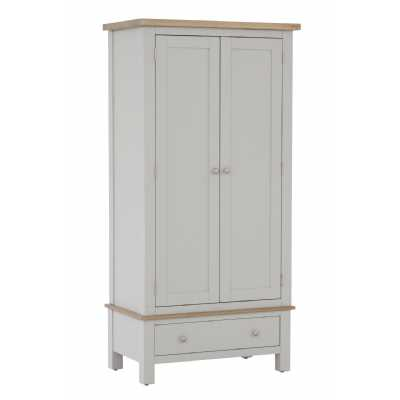 Vancouver Chalked Oak and Light Grey Painted 2 Door 1 Drawer Wardrobe