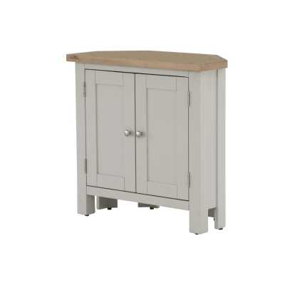 Vancouver Chalked Oak and Light Grey Painted 2 Door Corner Cupboard