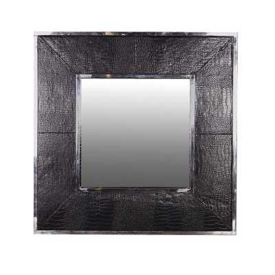 Modern Chrome Wall Mirror Black Faux Crocodile Effect Frame