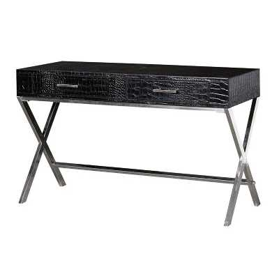 Modern Black Faux Crocodile Skin Desk With Steel Legs and Drawers