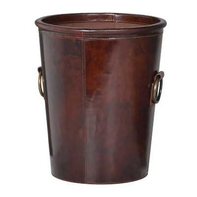 Vintage Brown Leather Waste Paper Basket With Metal Handles