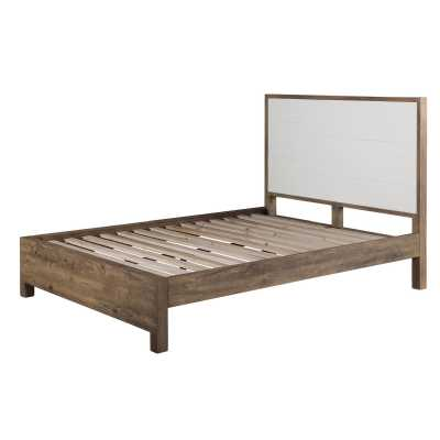 Avoca Urban Chic White Painted Top Parquet Oak King Size Bed