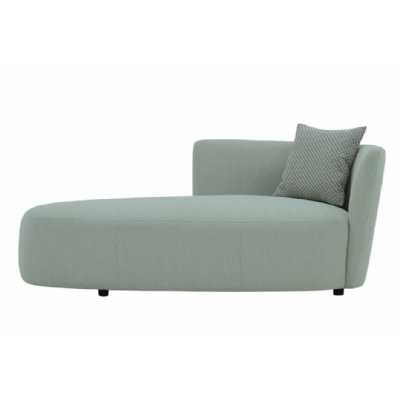 Snug and Cosy Herringbone Stone Fabric Upholstery Living Room Chaise With Deep Sprung Cushion 71x174x96cm