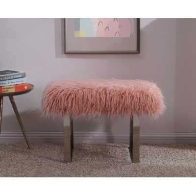 Heavy Pink Shag Faux Sheepskin Bench with Metal Frame