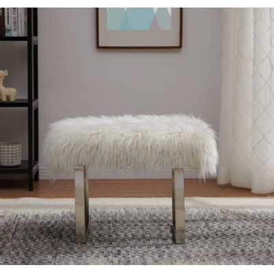 Heavy White Shag Faux Sheepskin Bench with Metal Frame