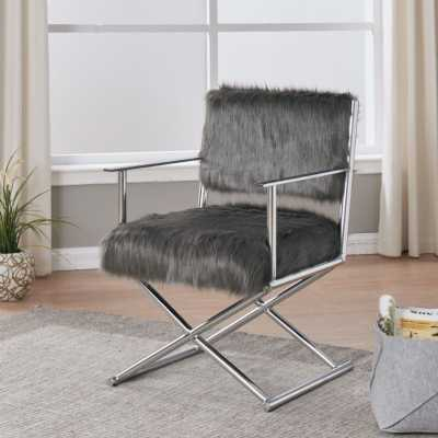 Faux Sheepskin Directors Chair Grey