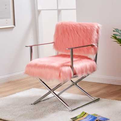 Faux Sheepskin Directors Chair Pink