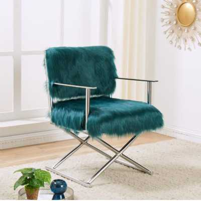 Faux Sheepskin Directors Chair Teal