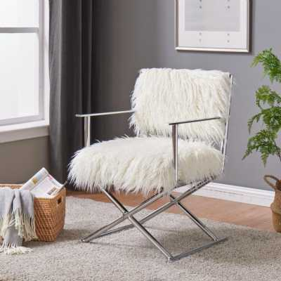 Faux Sheepskin Directors Chair White