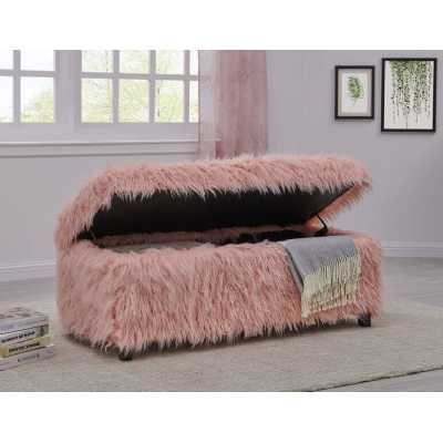Heavy Shag Pink Faux Sheepskin Upholstered Ottoman with Lift up Lid