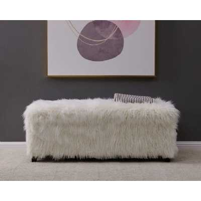 Heavy Shag Faux Sheepskin OttomanWhite