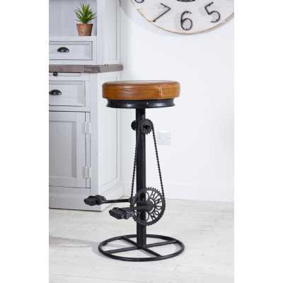 Eclectic Furniture Brown Leather Cycle Bar Stool Contemporary Industrial Style